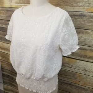 ZARA White Eyelet Smocked BOHO Blouse Size Small